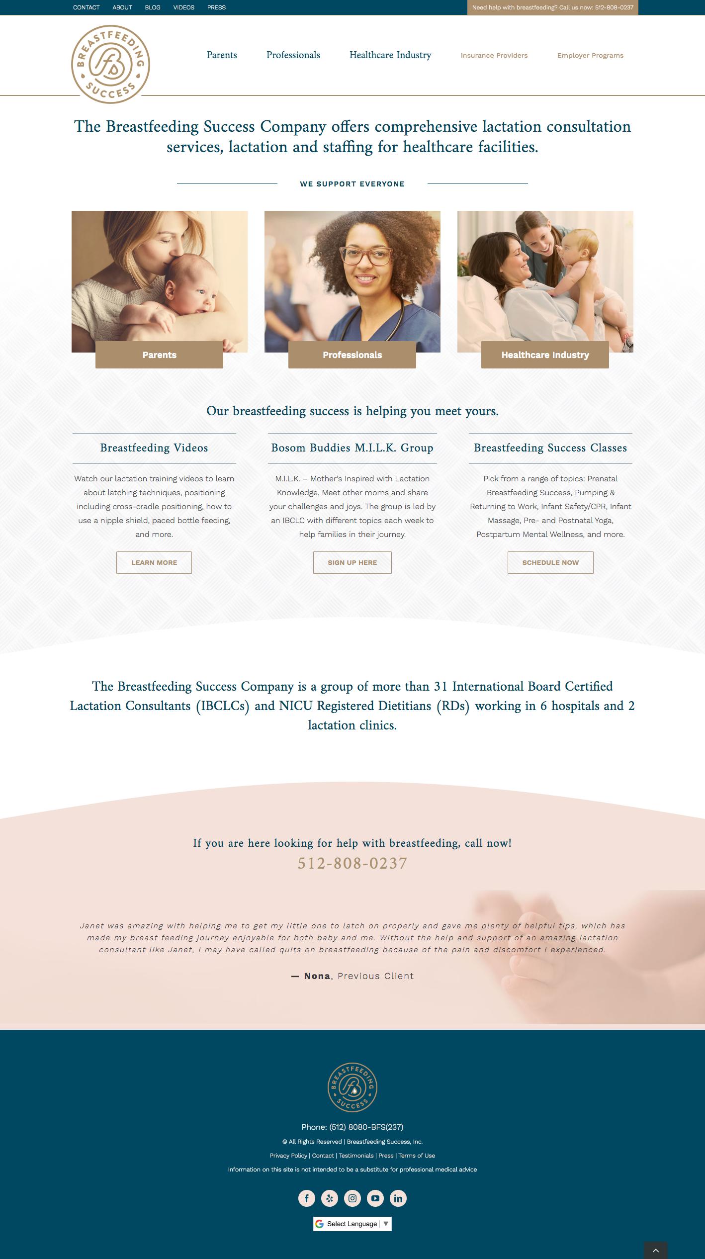 Lactation Consultation Website Design